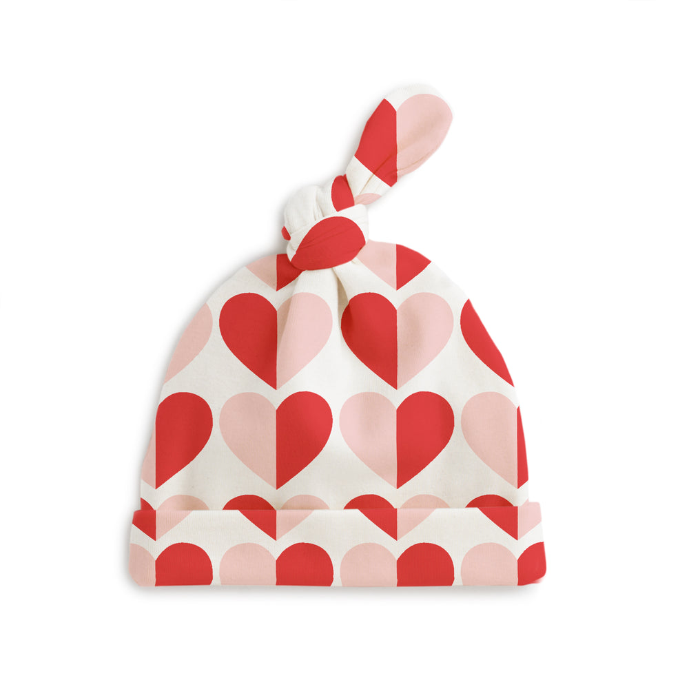 Knotted Baby Hat, Hearts in Red and Pink