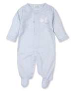 Pique Bunny Farm Footie, Light Blue