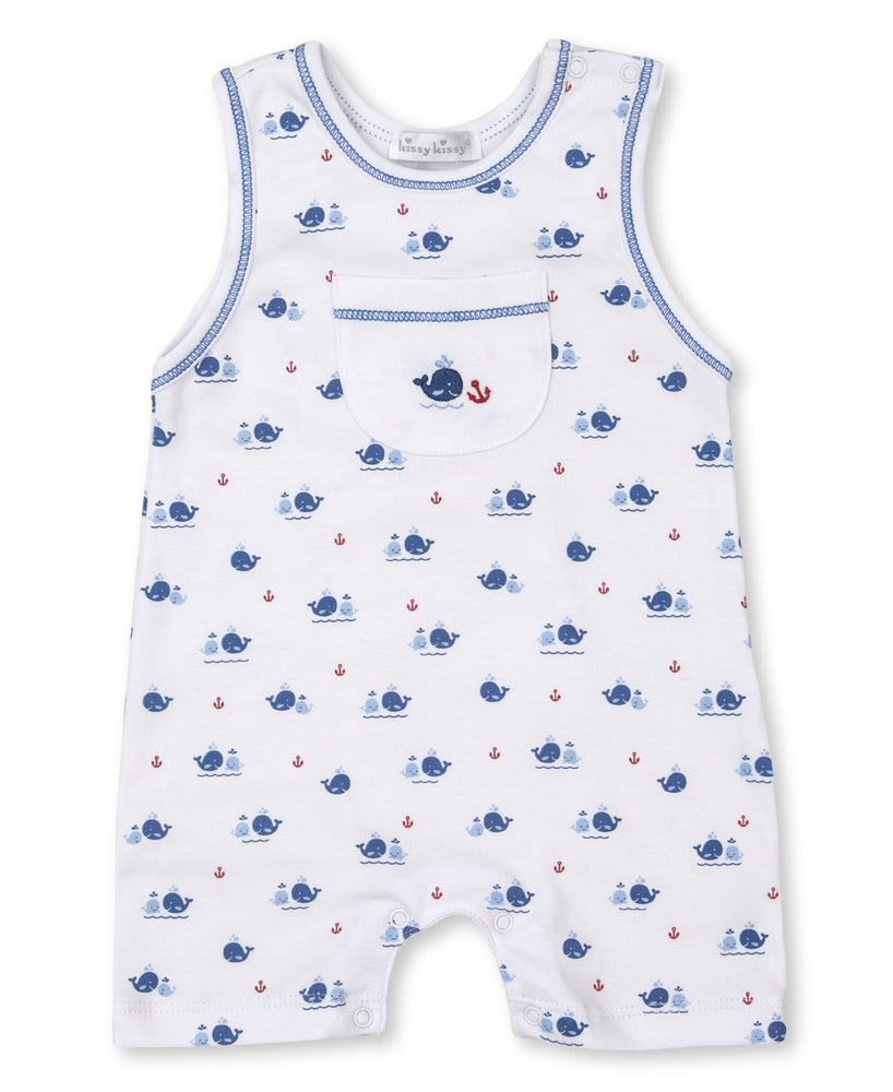 Breaching Whales Sleeveless Playsuit, Blue