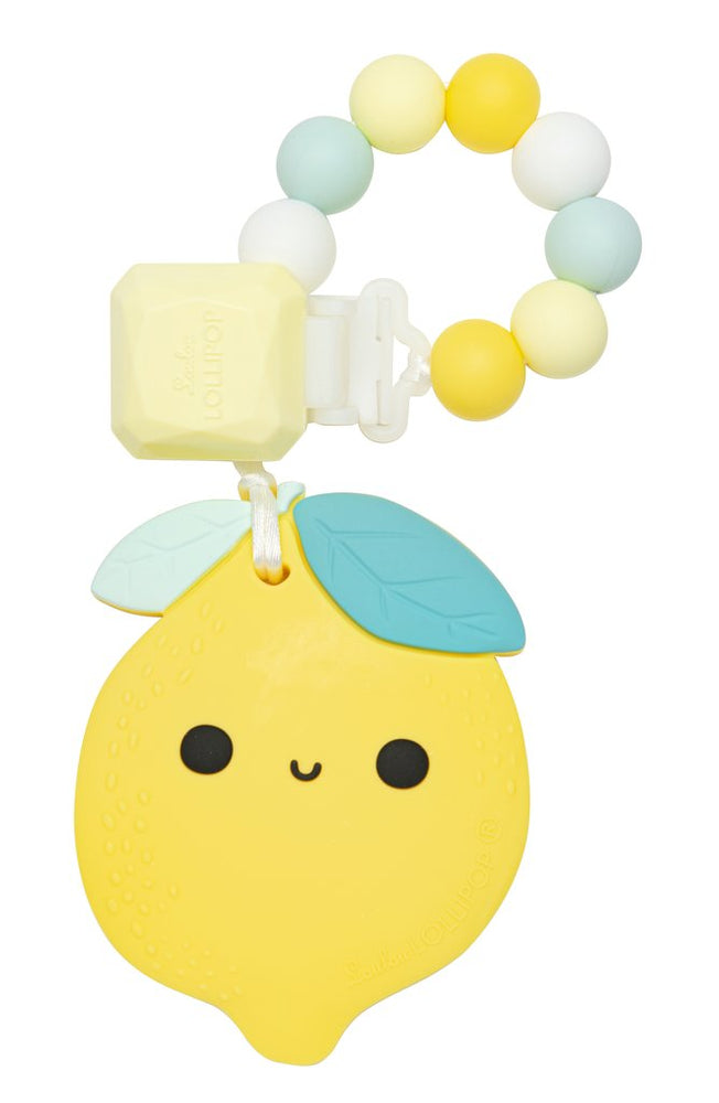 Lemon Silicone Teether Holder Set