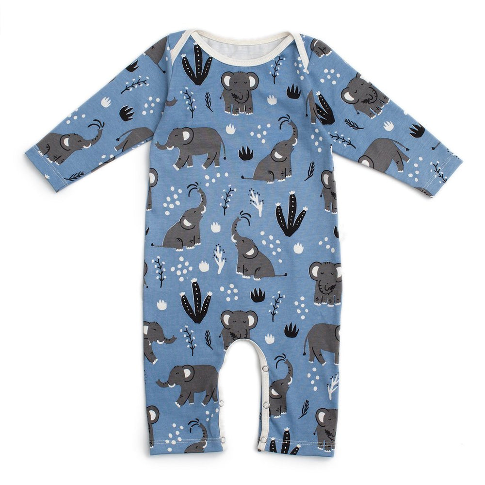 Long Sleeve Romper, Elephants in Blue