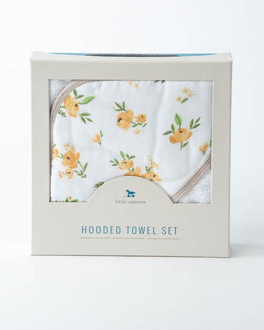 "Hooded Towel & Washcloth Set, ""Yellow Rose"""