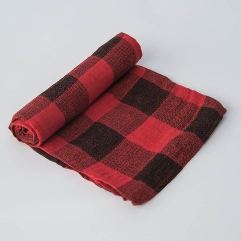 "Cotton Muslin Swaddle, ""Red Plaid"""