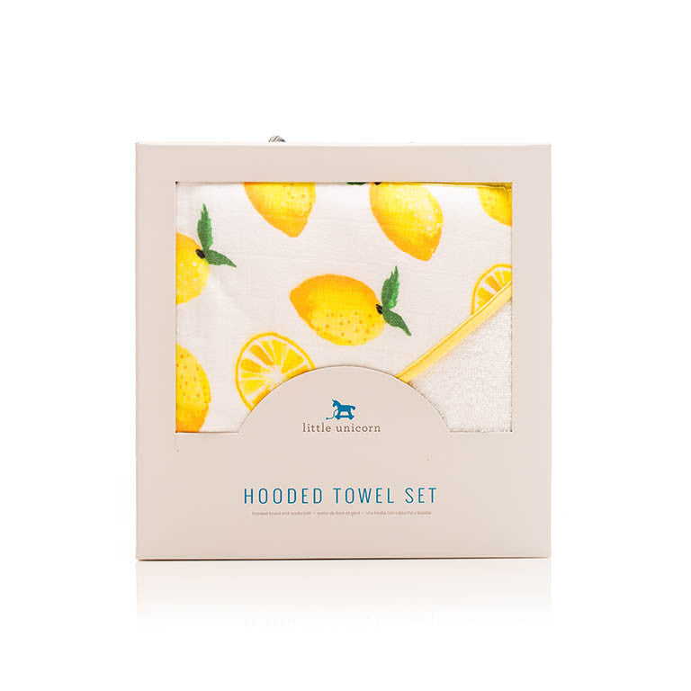 Cotton Hooded Towel & Wash Cloth, Lemon