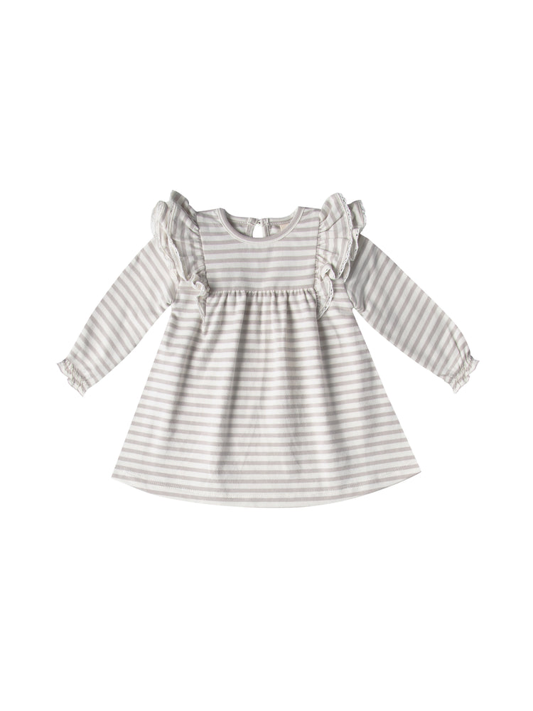 Long Sleeve Flutter Dress, Fog Stripe