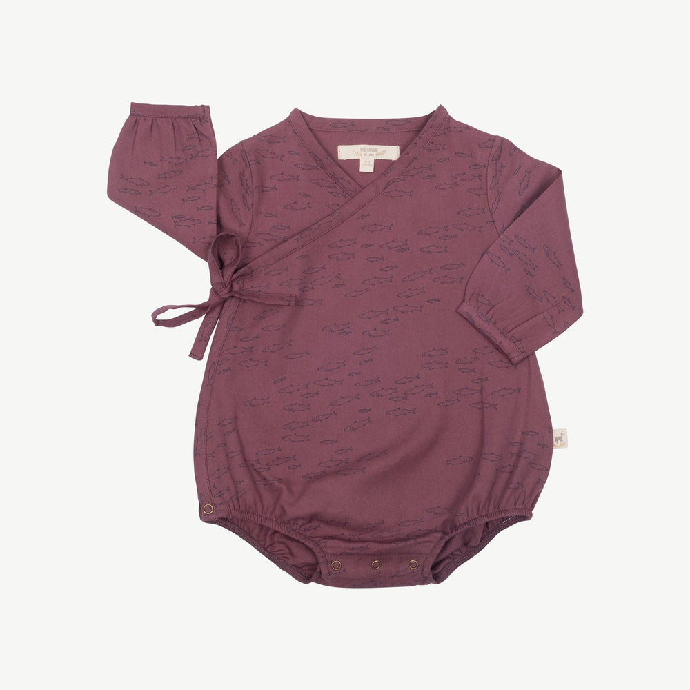 Red Caribou Schooling Fish Woven Onesie, Plum Wine
