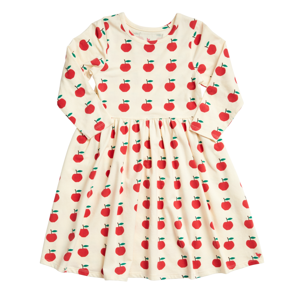 Organic Steph Dress, Antique White Apples