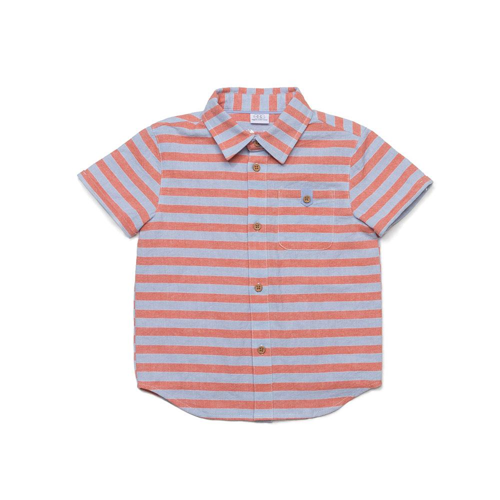 Striped Linen Adrian Shirt, Orange Stripe