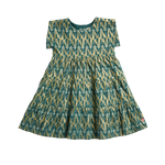 Peachy Dress, Teal Geo Lurex Jacquard