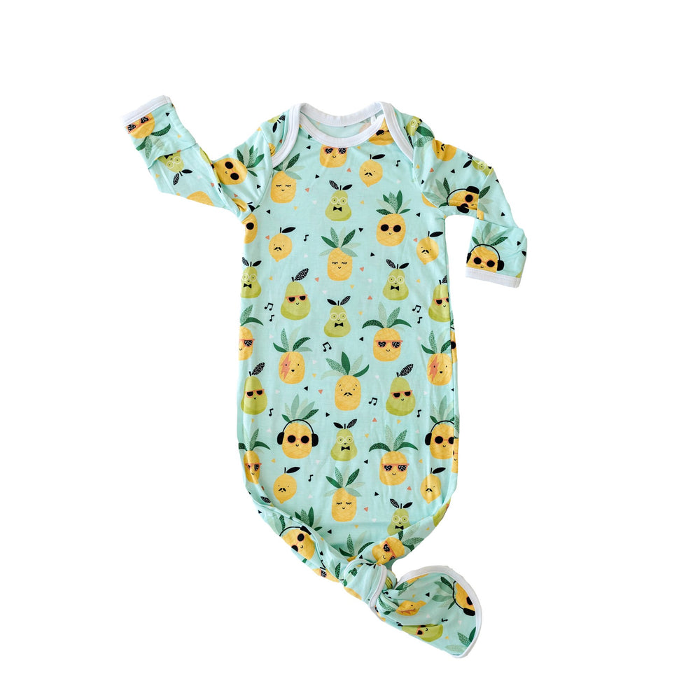 Pineapples Bamboo Viscose Infant Knotted Gown