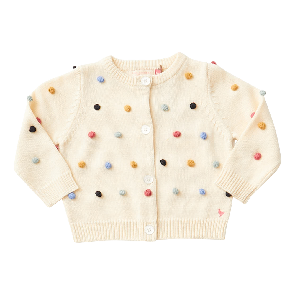 Maude Sweater, Cream with Multi Poms