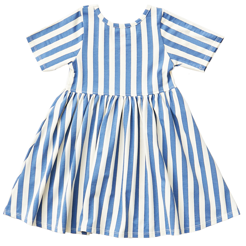 Organic Steph Dress, Riviera & Antique White Stripes