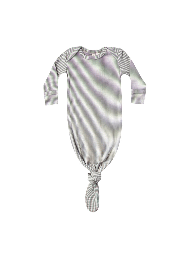 Ribbed Knotted Baby Gown, Eucalyptus