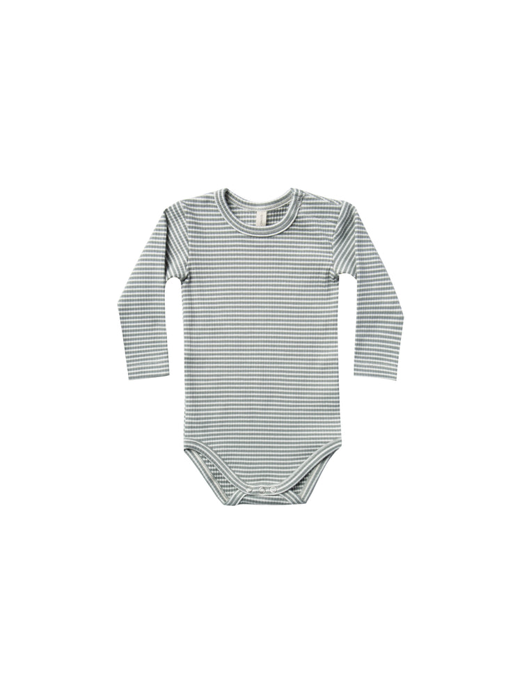 Ribbed Long Sleeve Bodysuit, Eucalyptus Stripe