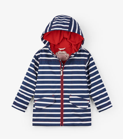 Navy Stripes Microfiber Rain Jacket