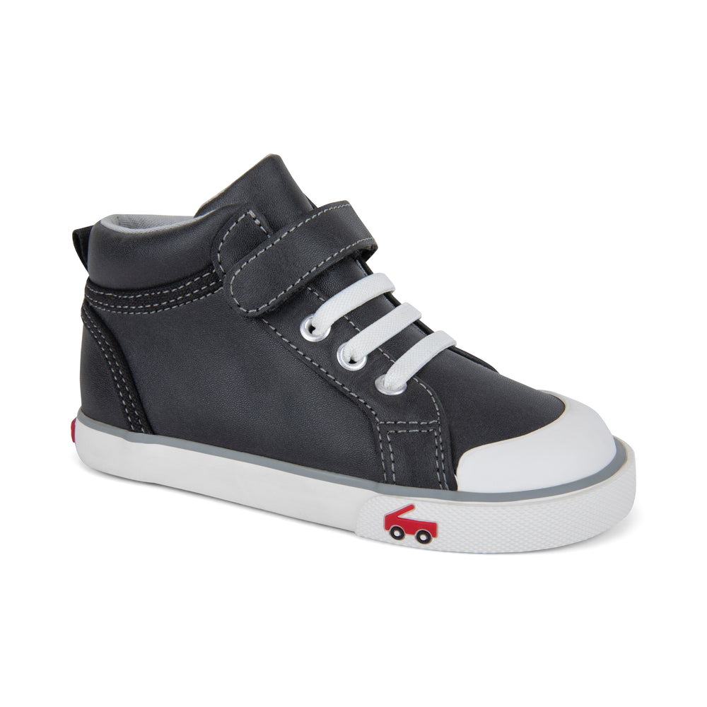 Peyton Hightop Sneaker, Black Leather