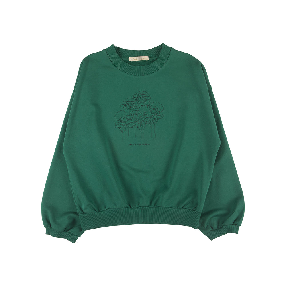 Sweatshirt, Take a Deep Breath in Antique Green Red Caribou