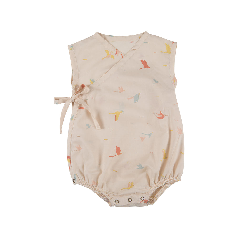 Woven Kimono Onesie, Tropical Birds in Pink Tint Red Caribou