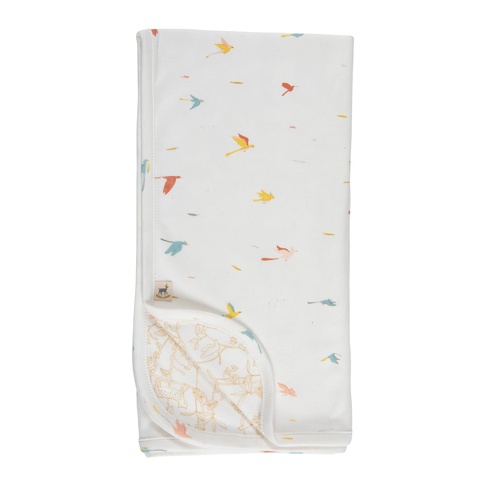 Double Sided Blanket, Tropical Birds on Eco-White Red Caribou