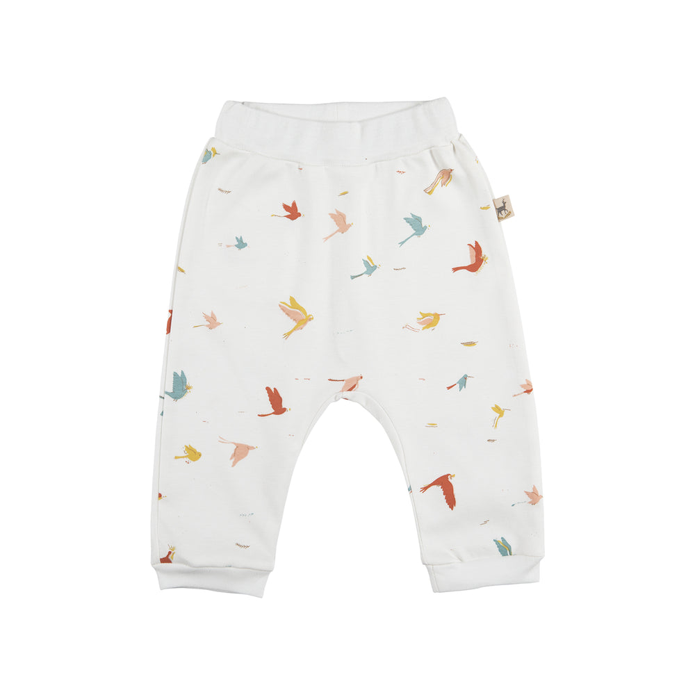 Baggy Pants, Tropical Birds in Eco-White Red Caribou