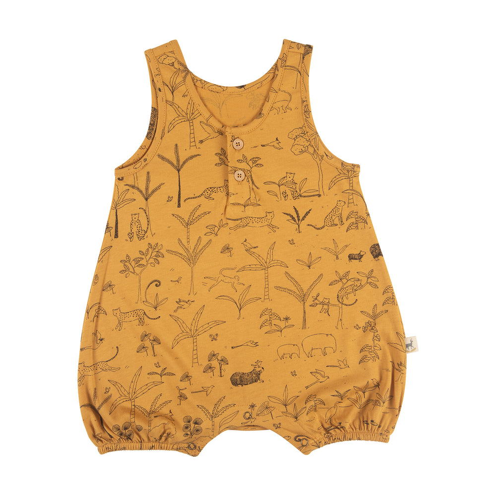 Romper, The Story in Spruce Yellow Red Caribou