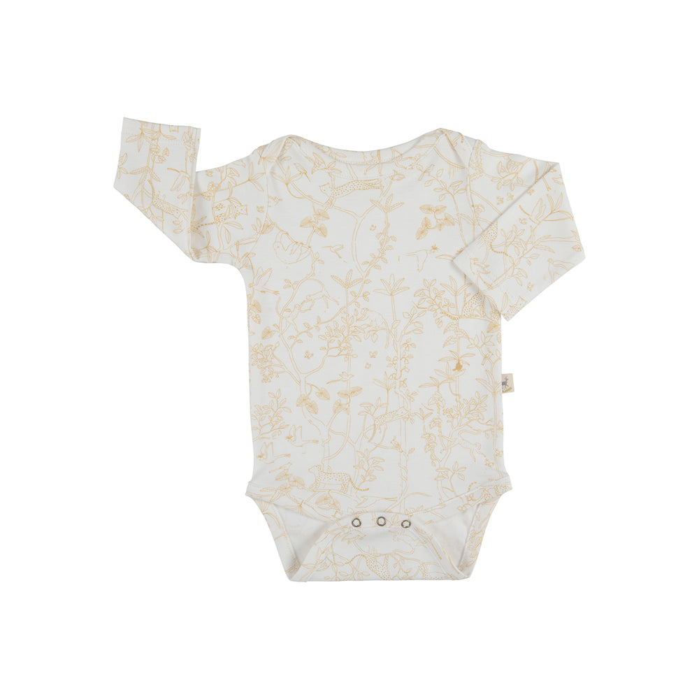 Long-Sleeve Onesie, The Canopy in Eco-White Red Caribou