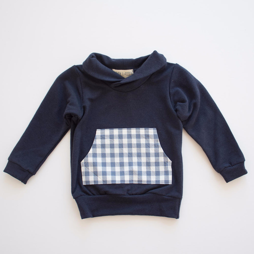 Shawl Collar Sweatshirt, Blue Gingham