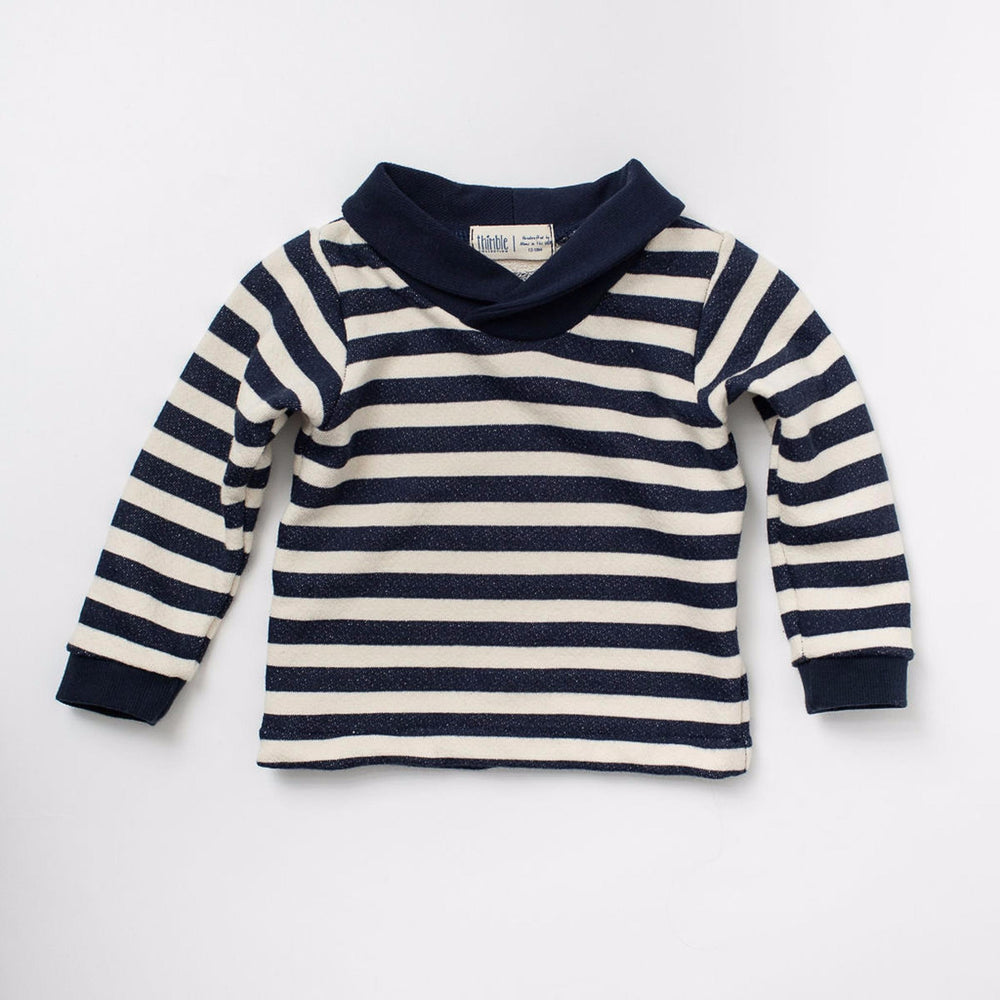 Shawl Collar Sweatshirt, Navy Stripe