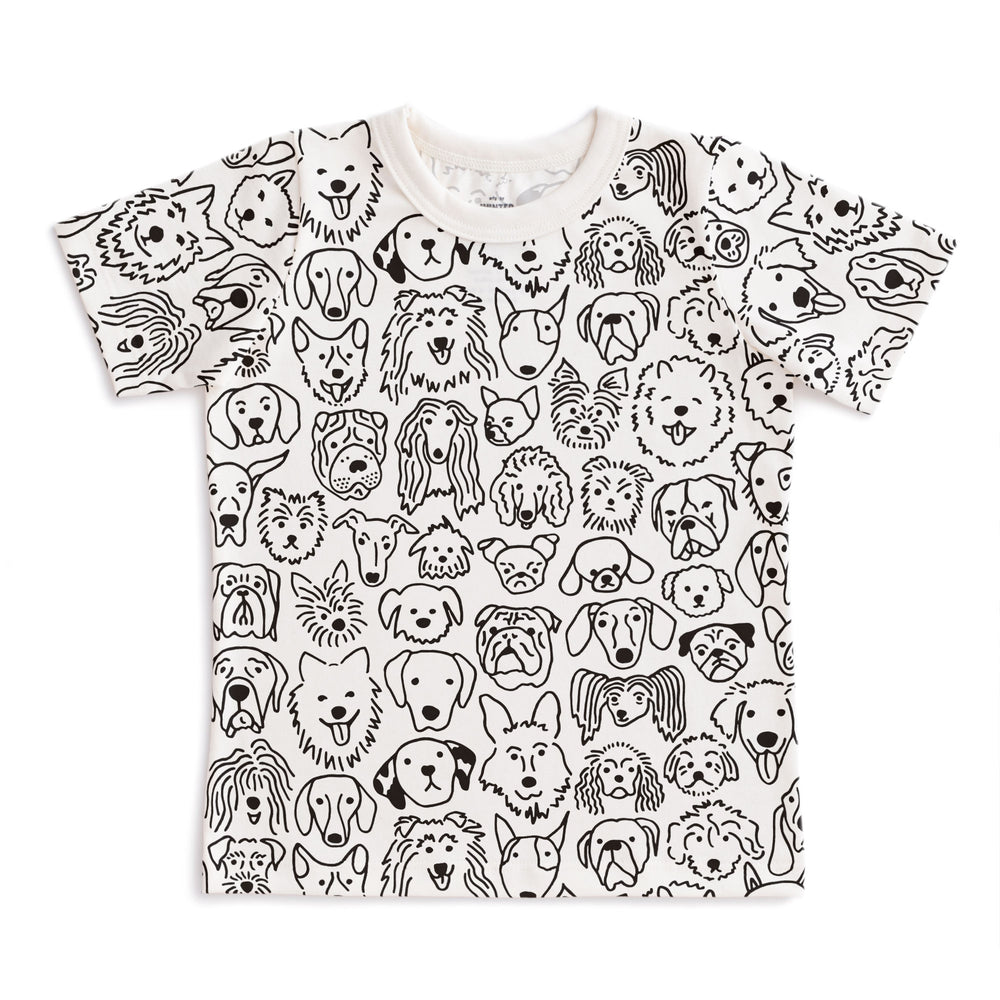 Short Sleeve Tee, Black Dogs on White