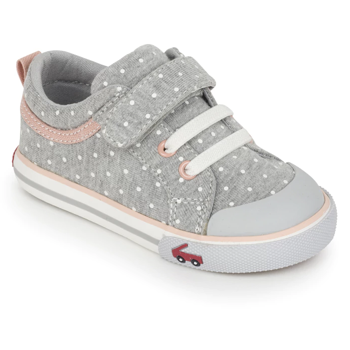 Kristin Toddler Sneaker, Gray Jersey Dots