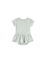 Pointelle Skirted Onesie, Sea Glass