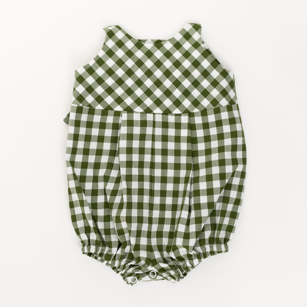Knotted Romper in Bush Gingham