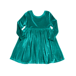 Steph Dress, Turquoise Velour