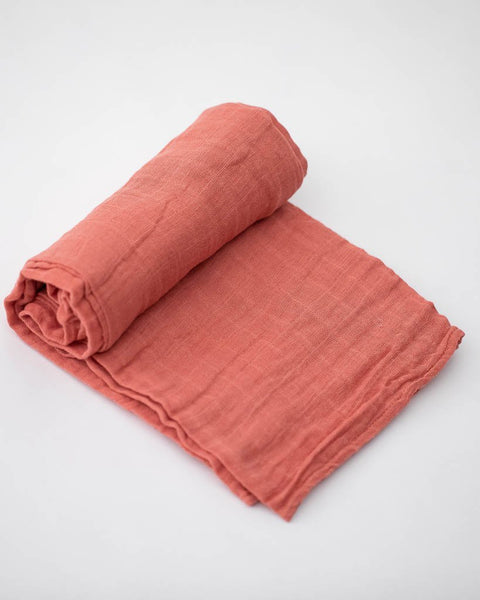 Cotton Muslin Swaddle, Dusty Rose