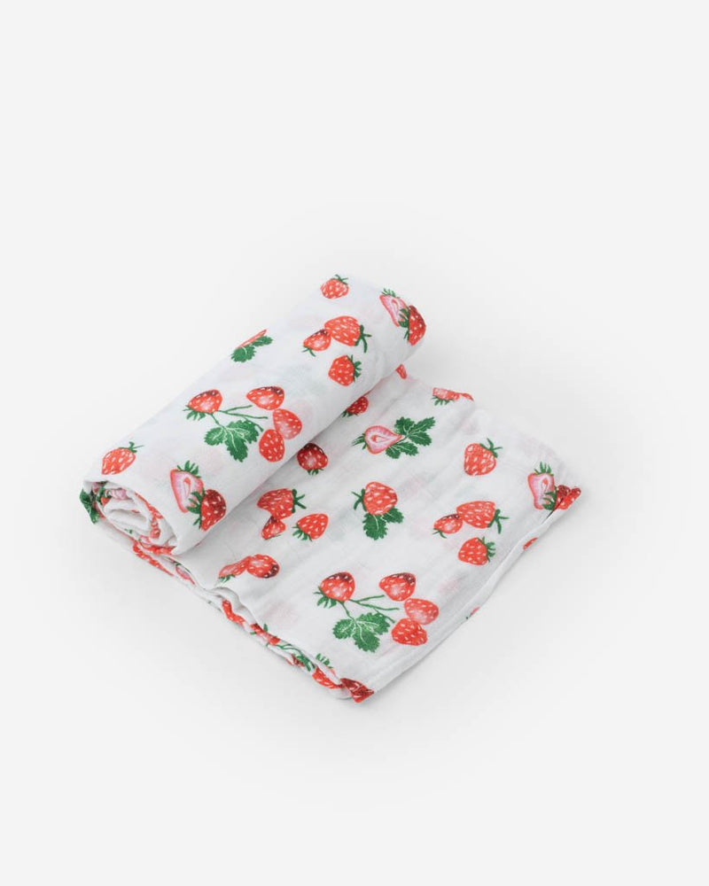 Cotton Muslin Swaddle, Strawberry Patch