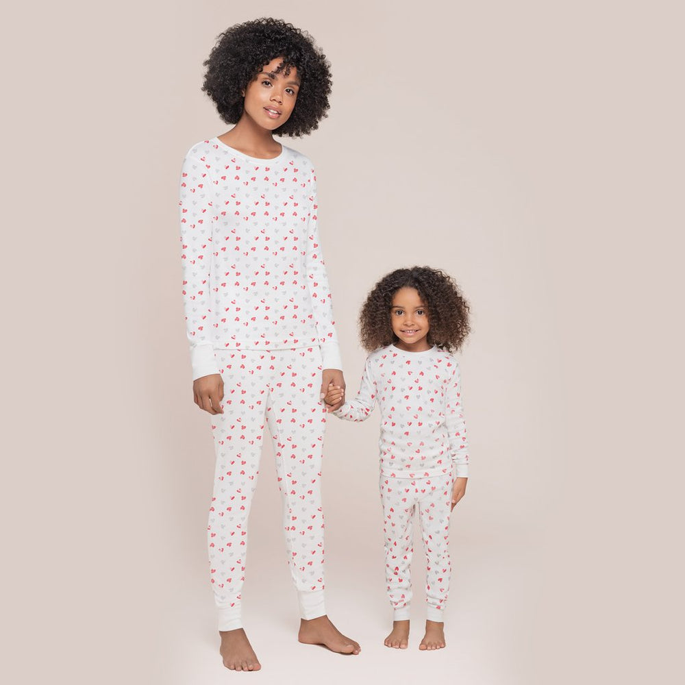 Hearts Women's Pajama Set, Off White