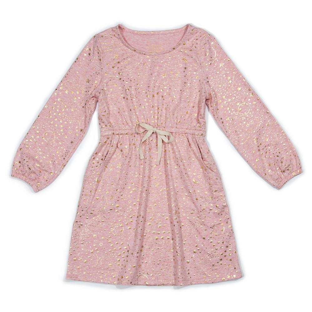 Metallic Constellation Maeve Dress, Pink