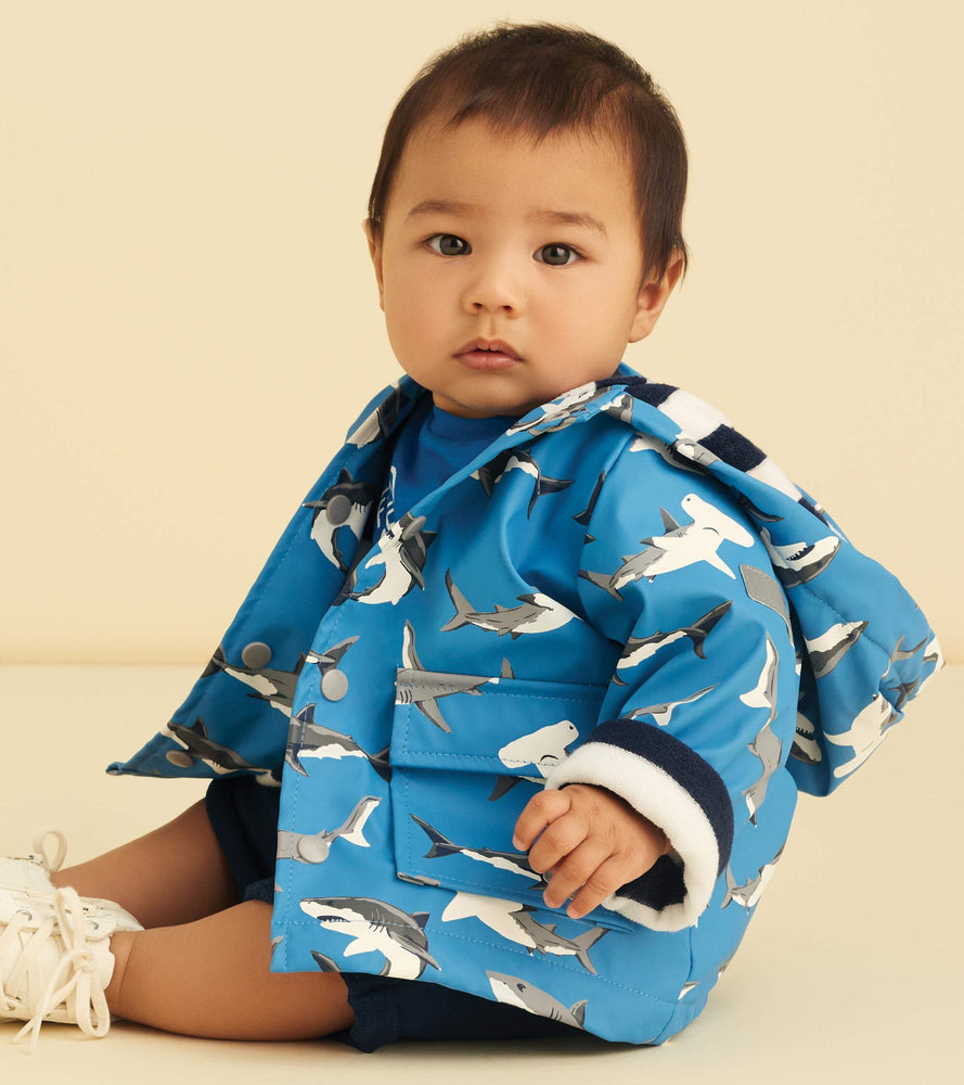 Deep Sea Sharks Color Changing Baby Raincoat