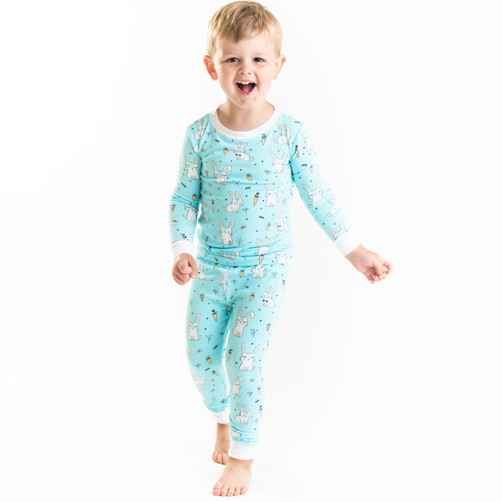 Aqua Bunnies Two-Piece Bamboo Viscose Pajama Set