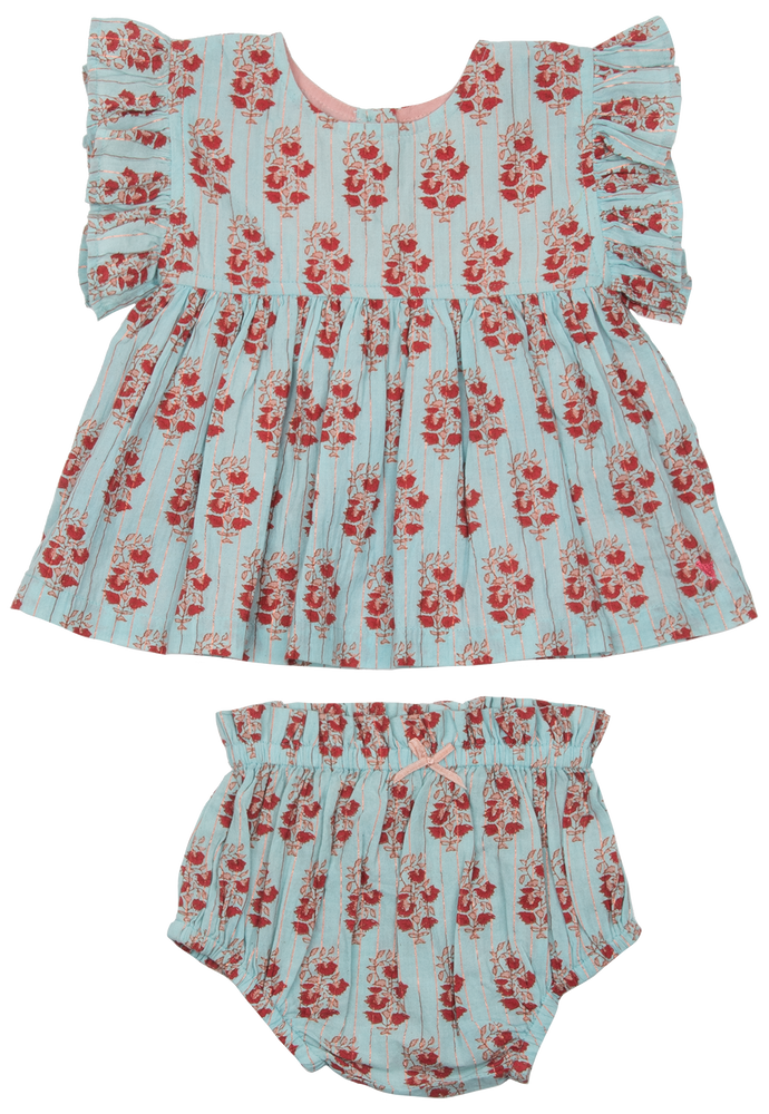 Kit 2-Piece Set, Milky Blue Vintage Floral Pink Chicken