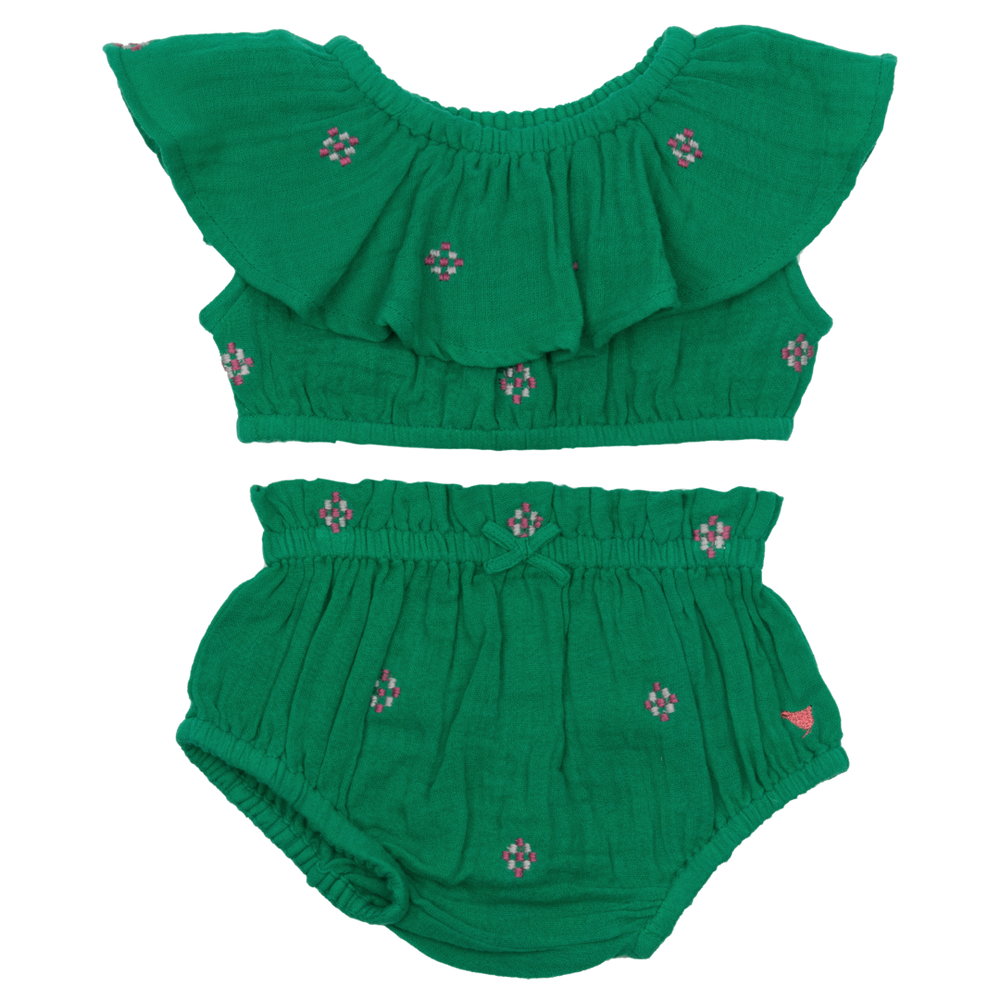 Loretta 2-Piece Set, Bosphorous Green with Embroidery