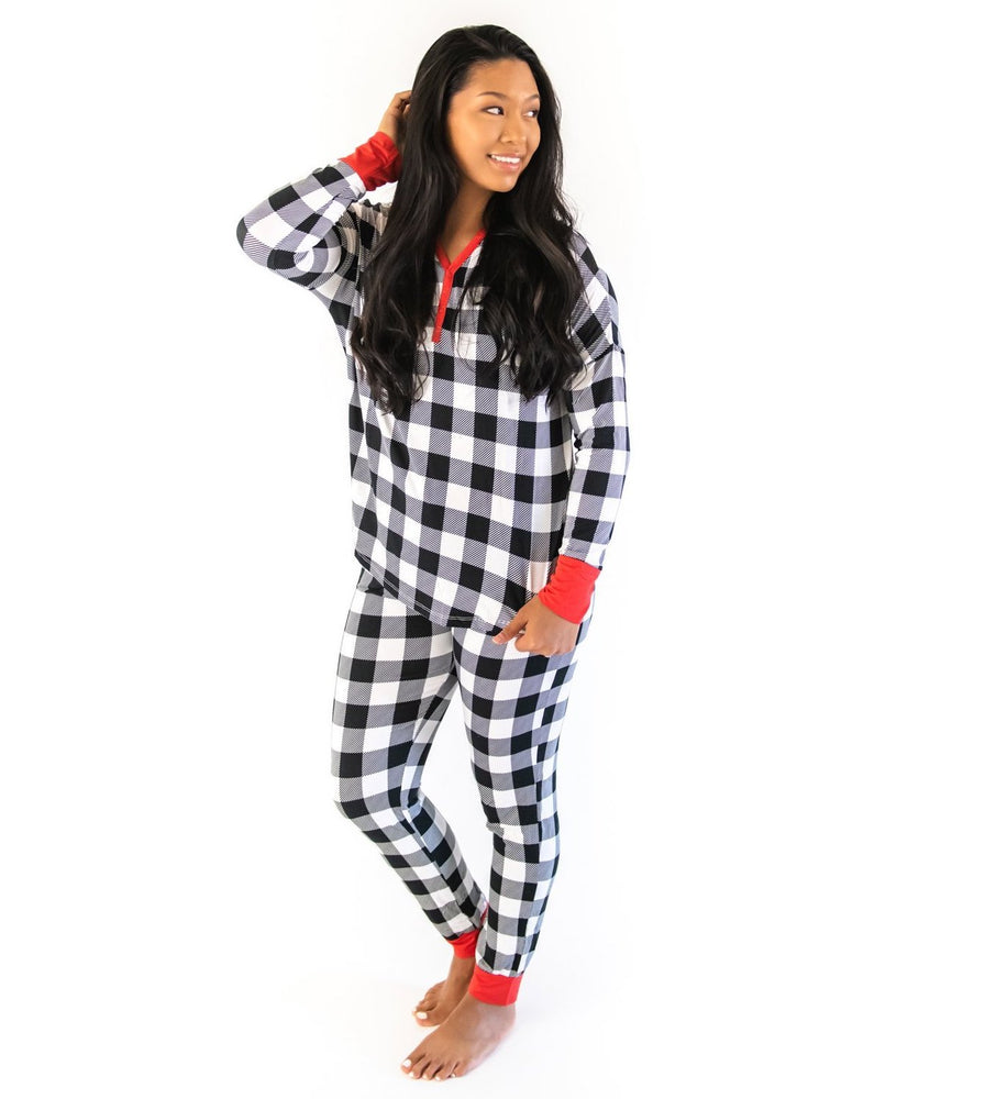 Black & White Plaid Two-Piece Women's Bamboo Pajama Set