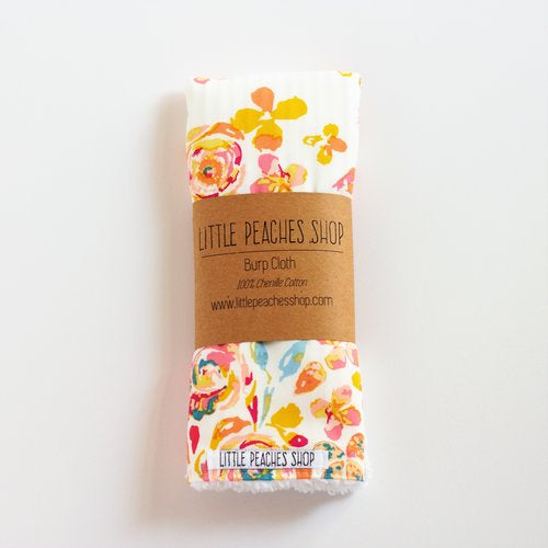 Chenille Burp Cloth - Confetti Flowers