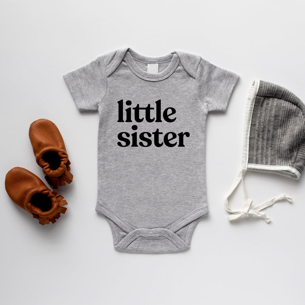 Little Sister Long Sleeve Onesie, Grey