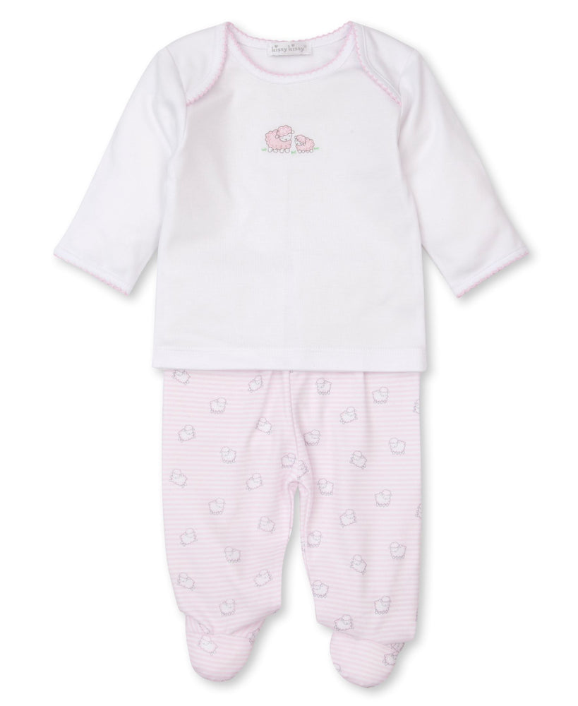 Sheep Scramble Footed Pant Set, Pink