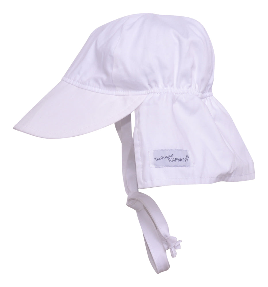 UPF 50+Original Flap Hat with Ties | White
