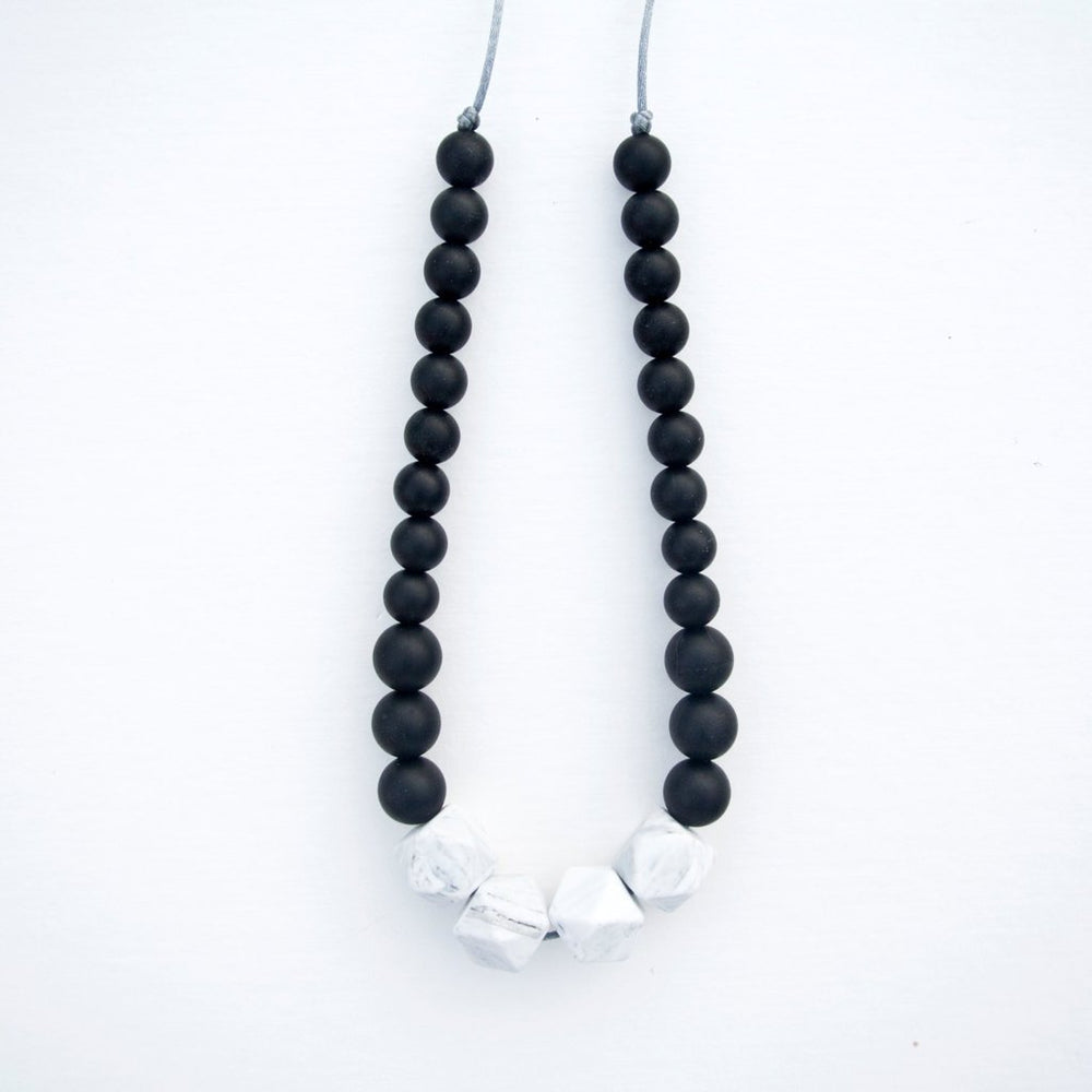 White Marble Silicone Teething Necklace,Black