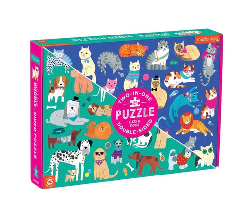 Cats and Dogs Double-Sided Puzzle, 100 Pieces