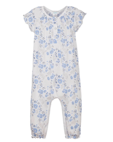 Ruched Romper - Maria - Blue on White