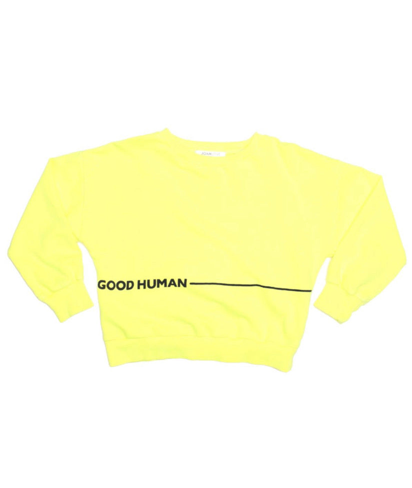 Good Human Sweatshirt, Neon Yellow Joah Love